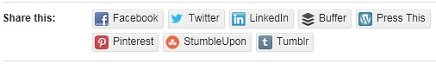 WordPress Content Sharing Buttons: Facebook, Twitter, LinkedIn, Buffer, Press This, Pinterest, StumbleUpon, and Tumblr