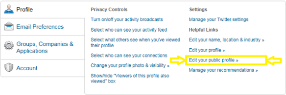LinkedIn settings: Edit your public profile