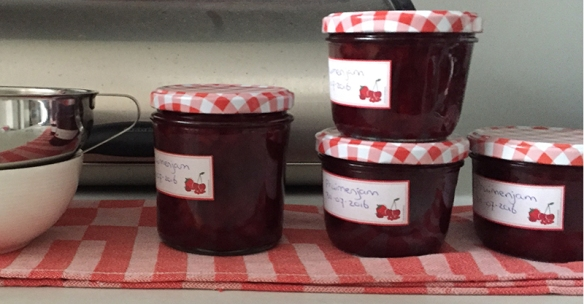 plum jam in jars